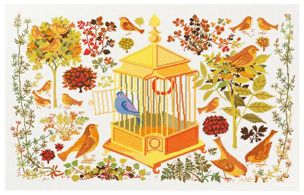 エヴァ(Eva Rosenstand社 )クロスステッチキット 【ナイチンゲール】鳥 復刻版 マス・ステイユ デンマーク輸入ししゅうキット