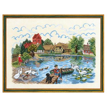 エヴァ ローゼンスタンド(EVA )クロスステッチ刺しゅうキット 【 Village pond 】 風景 大人気 中級者 上級者向き