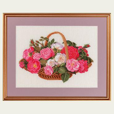 エヴァ ローゼンスタンド(EVA )クロスステッチ 刺繍(刺しゅう)キット バラの花かご 花 大人気 中級者~上級者向き