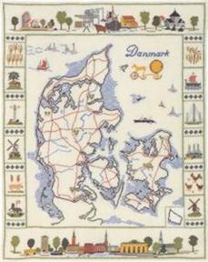 フレメ クロスステッチ 刺繍キット 【デンマークの地図】 デンマークの世界 デンマーク 輸入ししゅうキット