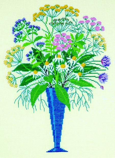 クロスステッチ 花糸 リネン 中級者 上級者向き フレメ ハーブのブーケ 入手困難 花と樹木 輸入ししゅうキット デンマーク 刺繍キット 2020新作
