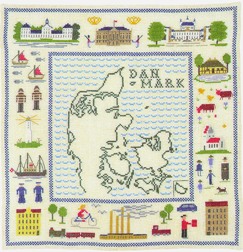 クロスステッチ 花糸 リネン 中級者 上級者向き フレメ デンマークの地図 刺繍キット デンマーク デンマークの世界 輸入ししゅうキット メーカー直送 安い 激安 プチプラ 高品質