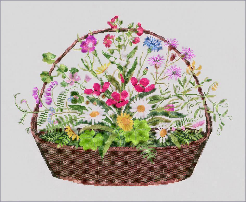 フレメ クロスステッチ 刺繍キット 【花かご】花と樹木 デンマーク 輸入ししゅうキット