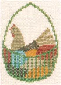 クロスステッチ 花糸 リネン 初級者向き フレメ オリジナル 刺繍キット 輸入ししゅうキット プレゼント EGGS ON 小さい作品 HEN デンマーク