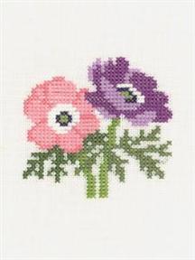 クロスステッチ 花糸 リネン 初級者向き フレメ 在庫一掃 小さい作品 輸入ししゅうキット 在庫あり アネモネ 刺繍キット デンマーク