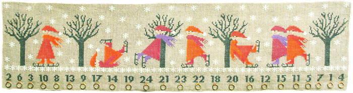 フレメ クロスステッチ 刺繍キット 【SKATING PIXIES】 クリスマス デンマーク 輸入ししゅうキット
