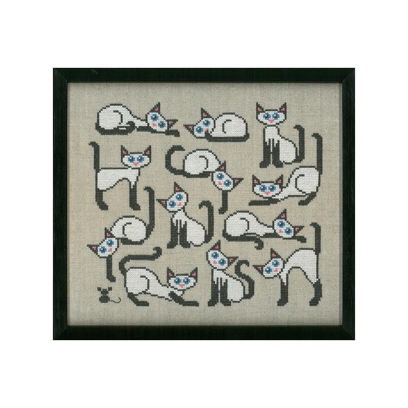 クロスステッチ 定番キャンバス 花糸 リネン 猫とネズミ 中級者向き タイムセール 初心者