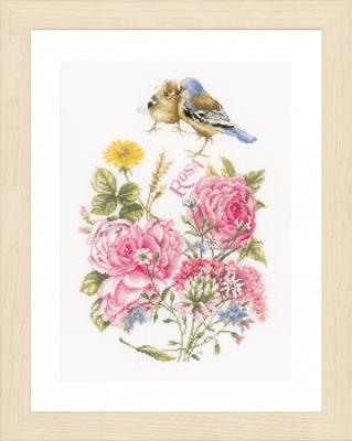 Lanarte社 売り出し ベルギー の輸入クロスステッチキット 保障 roses Finches and