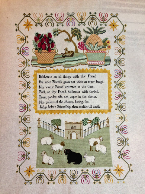 GRAZING SHEEP An English sampler of circa 1810