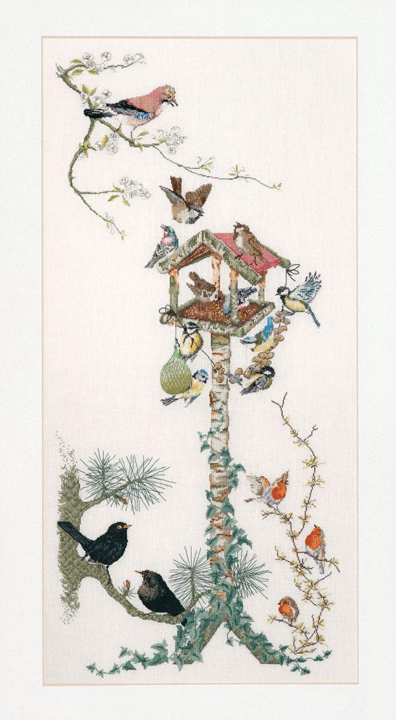 テア グーベルヌール クロスステッチ刺繍キット 【Bird Table】中級者ー上級者向き ☆お取り寄せキット(納期は30-90日程度)