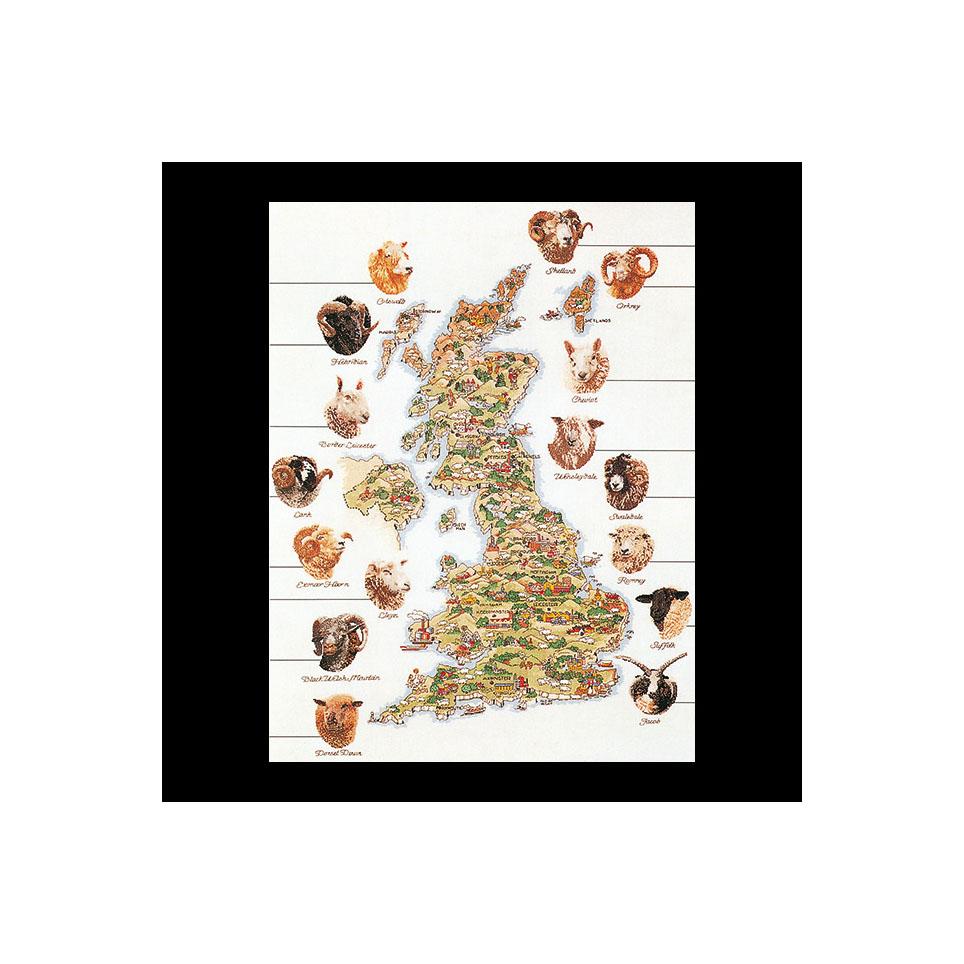 テア グーベルヌール クロスステッチ刺繍キット 【Sheep Map Of Great Britain 】中級者ー上級者向き ☆お取り寄せキット(納期は30-90日程度)