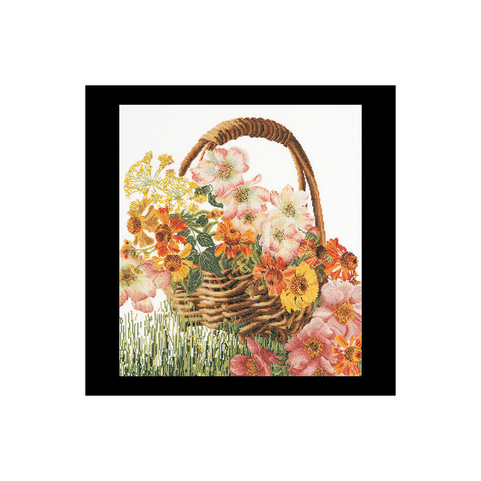 Thea Gouverneur社 無料サンプルOK オランダ の輸入クロスステッチキット テア グーベルヌール Flower ☆お取り寄せキット 納期は30-90日程度 中級者ー上級者向き 市販 クロスステッチ刺繍キット Basket