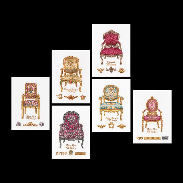 Thea Gouverneur社 オランダ の輸入クロスステッチキット テア グーベルヌール 中級者ー上級者向き 納期は30-90日程度 ☆お取り寄せキット Chairs Six クロスステッチ刺繍キット 売却 国内在庫