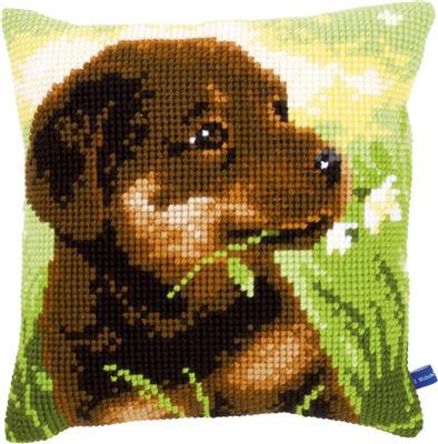 クロスステッチ Vervaco クッション 初級者~中級者向き ベルバコ ベルギー 刺繍キット 保証 超目玉 動物 子犬のクッション
