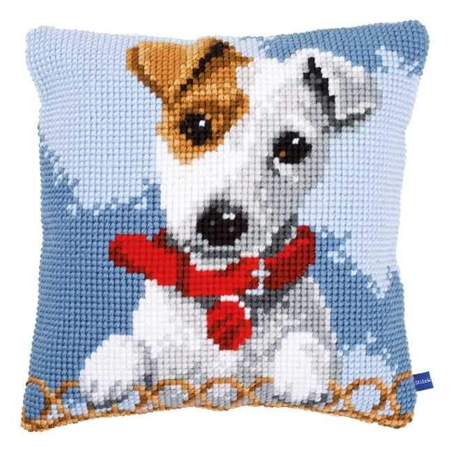 クロスステッチ Vervaco クッション 初級者 中級者向き 信用 動物 犬のクッション 割引も実施中 ベルバコ 刺繍キット ベルギー