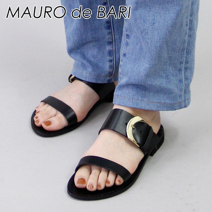 【RカードでP19倍相当 5/5 23:59まで】マウロデバーリ MAURO de BARI サンダル フラット バックル ベルト 本革 ブラック 黒 レディース 926 shoes fsandal 35/36/37/38/39/