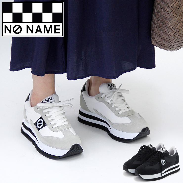 【15%クーポン】【RカードでP10倍相当 5/5 23:59まで】【正規品】ノーネーム スニーカー 厚底 NO NAME flex jogger フレックス ジョガー 黒 ブラック 白 ホワイト スエード ナイロン 軽量 レディース 91201 shoes sneaker 37/38/39/