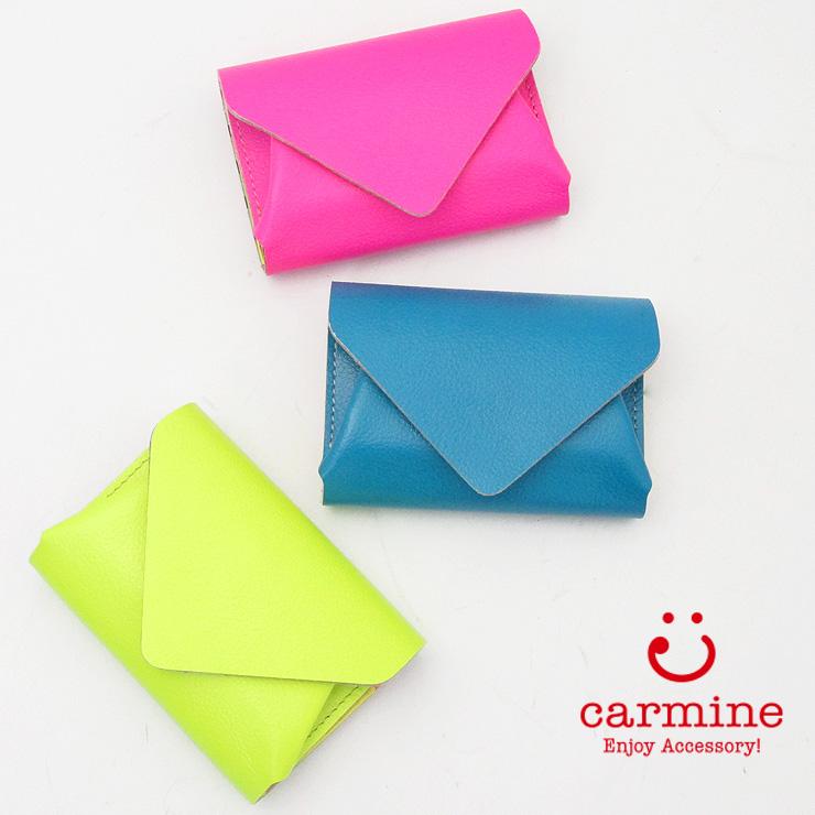 カーマイン carmine 財布 三つ折財布 ミニ財布 コンパクトミニウォレット ネオン レザー レディース 個性 cwv