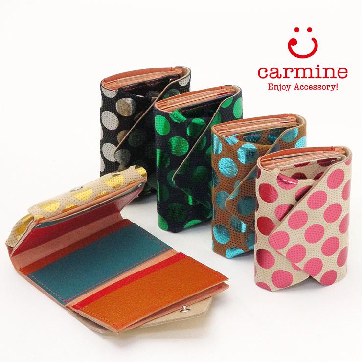21ffb7068138 カーマイン carmine / 三つ折り財布 コンパクトウォレット ドット cwd