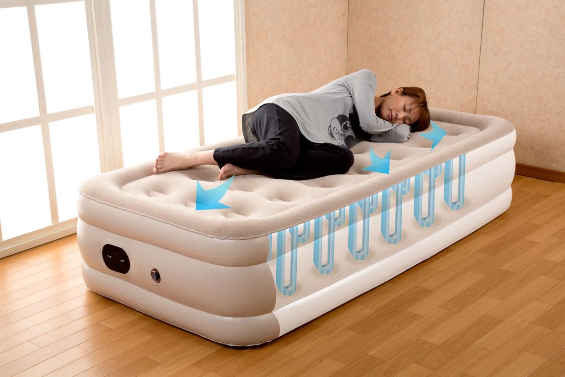 送料無料♪エアーベッド ふうわシングル 離島沖縄別途送料★電源コードをさしてボタンを押すだけ3分で素敵なベッドが完成♪★空気量を調節するだけでベッドの硬さを合わせることができオーダーメード感覚♪★女性一人でもラクラク持ち運べる軽さ♪