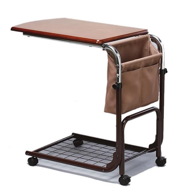 ベッドサイドテーブル ベッドオーバーテーブル マガジンラック付き 天板昇降 【送料無料】【smtb-k】