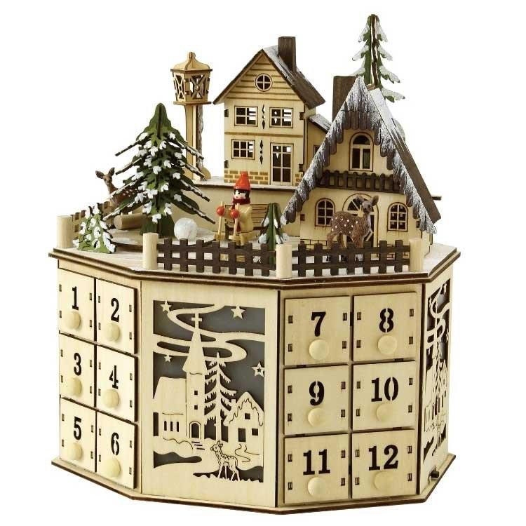 クリスマス お菓子 アドベントカレンダー カウントダウン 木製 クリスマス エルツLED メロディ ウッドオブジェ  アドベントカレンダー  タウン SPICE