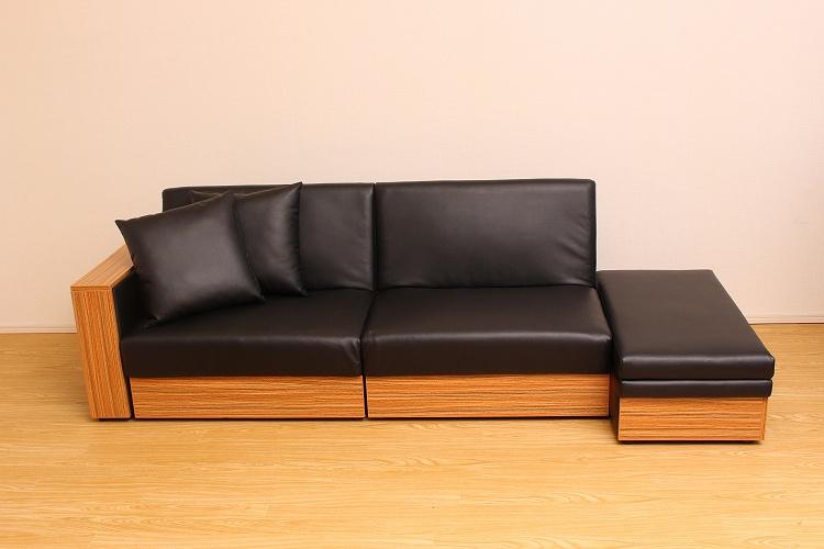 ソファベッド    組み換え 組み合わせ オットマン 収納 ソファ リビング 家具 インテリア PVCレザー 連結 一人暮らし 新生活 足置き フットレスト レザー調