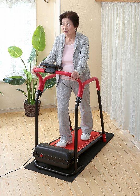 電動ルームウォーカー 手すり付  健康 ダイエット 歩行 ウォーキング マシン ランニング マシーン 運動 エクササイズ 安全 安心 コンパクトウォーカー 折りたたみ 歩く トレーニング 足腰 サイドハンドル 持ち手 取っ手 つかまり歩き