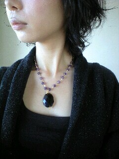 Amethyst smoky quartz Necklace (r)
