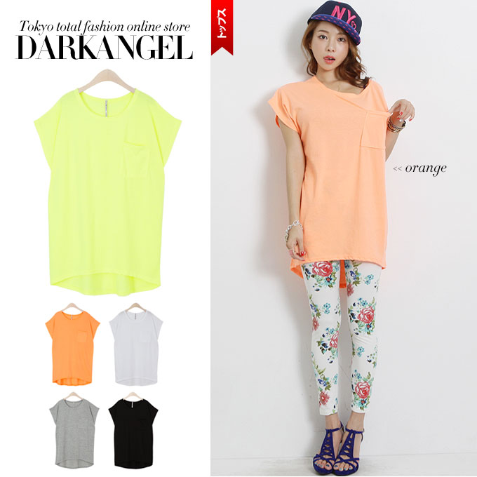 A figure cover can keep strong! Plain short-sleeved T-shirt / Lady's plain fabric T-shirt imbalance cut-and-sew tops DarkAngel/ dark angel with the pocket