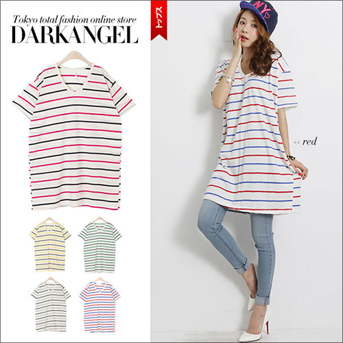 Simple wear and outstanding turning! Border short-sleeved tops and women's one piece sewn border casual POPDarkAngel / Dark Angel