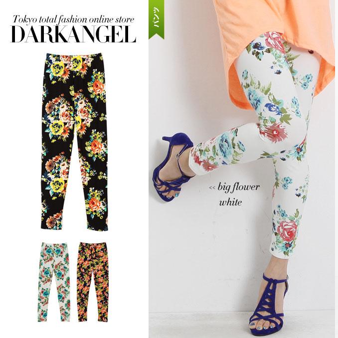 Glamorous to liven up the season! Botanicalflowerreggins / women's leggings botanical flower pattern floral 10 minutes spats General DarkAngel / Dark Angel 1