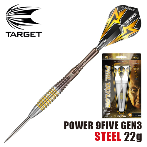 ダーツ バレル TARGET POWER 9FIVE GEN-3 STEEL TIP 22g (メール便OK/9トリ)