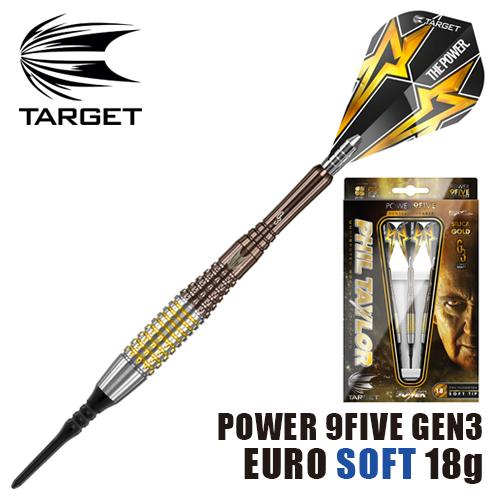 ダーツ バレル TARGET POWER 9FIVE GEN-3 EURO 18g SOFT TIP (メール便OK/9トリ)