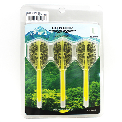 Integrated Flights & Shafts - CONDOR - Pailey Design - SMALL L - CLEAR YELLOW