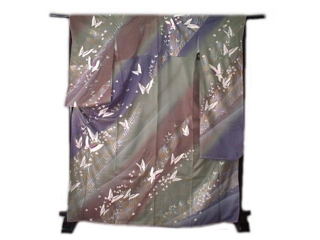 【送料無料】正絹新品振袖9点セット福袋 たたき染地の幾何学蝶花文様柄 lf101set