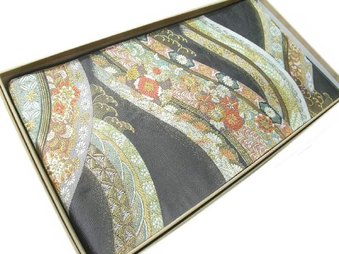 【送料無料】逸品!正絹西陣袋帯◆「花譜流彩文」-吉祥花柄◆hu216