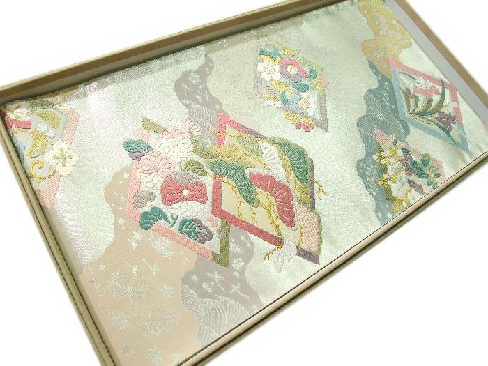 【送料無料】新品!正絹西陣袋帯◆銀地箔唐織-道長桃山華文◆hu238