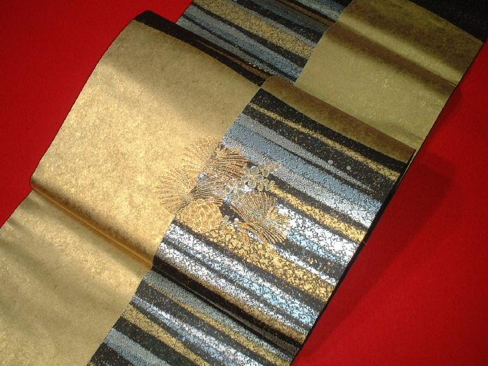 【送料無料】逸品!正絹西陣袋帯◆「瀞金錦」-長嶋成織物謹製◆hu178