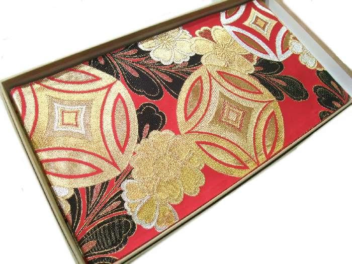 【送料無料】新品!正絹西陣袋帯◆豪華な赤色地七宝華文様柄◆hu469