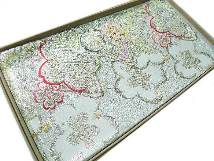 【送料無料】新品!正絹西陣袋帯◆豪華な銀白地桜花文様柄◆hu471