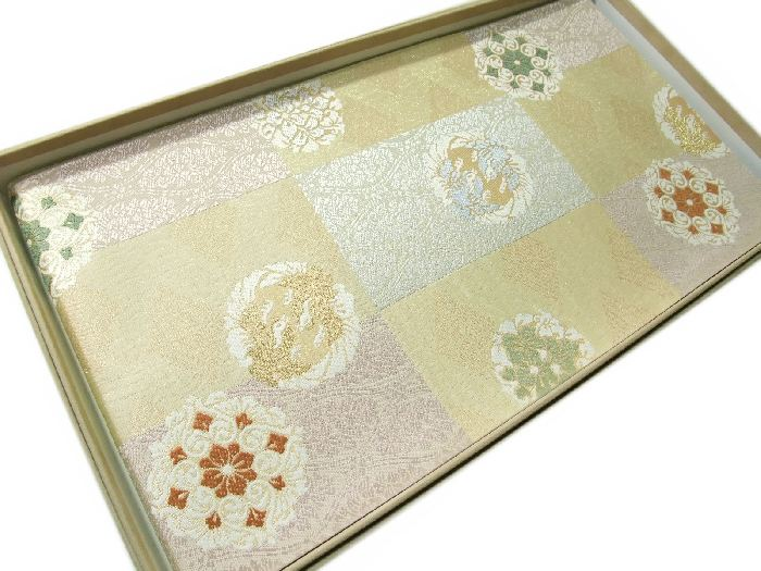 【送料無料】袋帯 正絹 西陣 フォーマル 新品 上品な市松取正倉院華文様柄 hu491