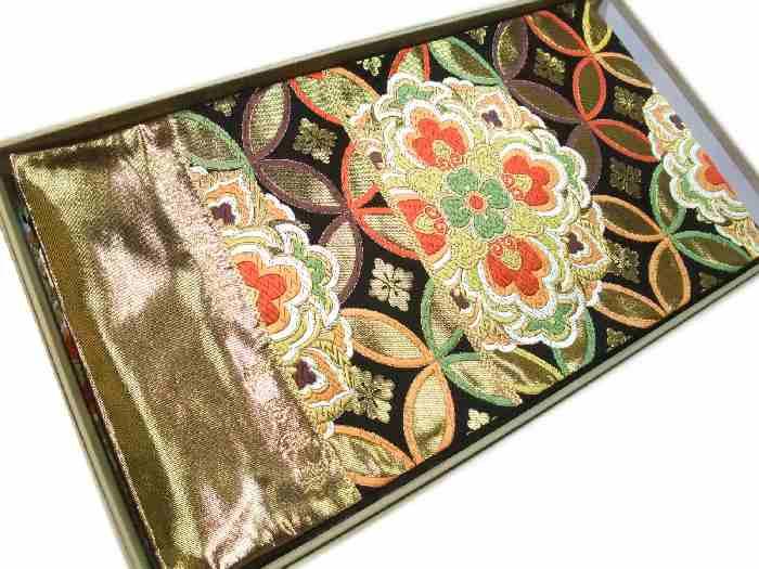 【送料無料】袋帯 正絹 西陣 河合美術織物 金と黒の七宝正倉院華文様柄 新品 hu501
