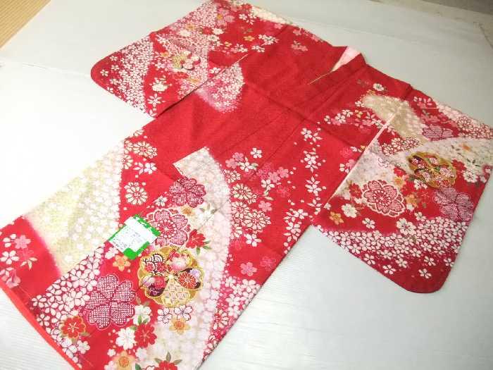 【送料無料】七五三 着物 7歳 正絹四つ身トータルセット 赤色地花模様柄 k4099set