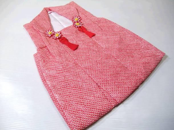 【送料無料】七五三 着物 3歳 被布コート 正絹総絞り 赤色 新品 mi353