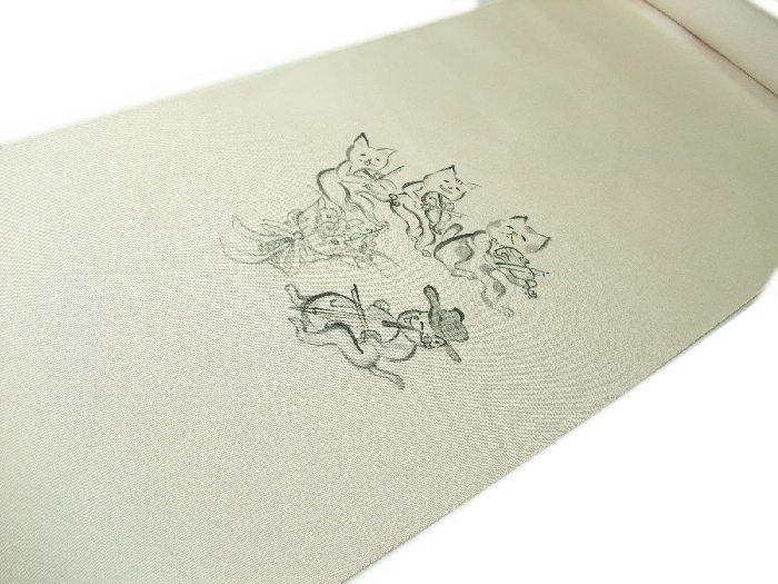 【送料無料】新品!正絹塩瀬名古屋帯◆手描京友禅-猫の楽団◆na331