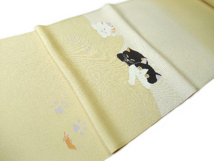 【送料無料】新品!正絹塩瀬名古屋帯◆手描京友禅-猫猫猫◆na339
