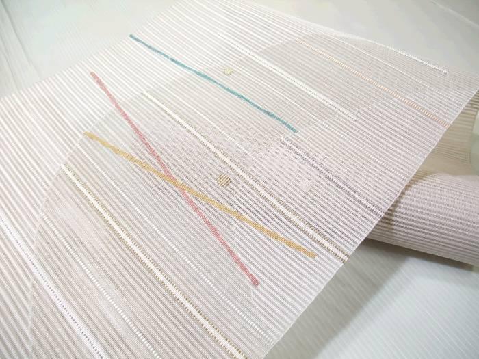 【送料無料】夏物です!正絹手織り絽つづれ八寸帯★幾何学柄★ro254