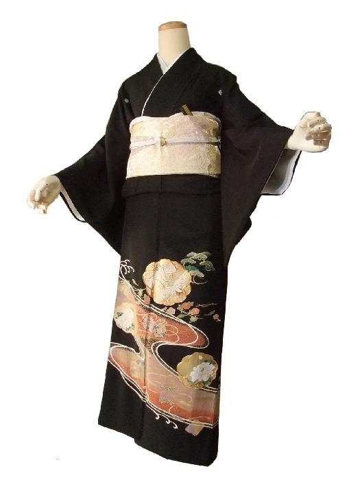 【レンタル】【往復送料無料】黒留袖レンタルセットrto011(適応身長153cm~165cm)