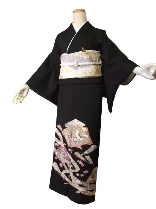 【レンタル】【往復送料無料】黒留袖レンタルセットrto012(適応身長148cm~160cm)